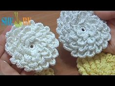 ❧Pretty Flowers, Crochet designs, diagrams, how to's and ideas Crochet Fluffy Flower Tutorial 9 Crochet Puff Flower, Crochet Flower Tutorial, Crochet Leaves, Knitted Flowers, Crochet Flower Patterns, Crochet Motif, Crochet Designs, Ravelry Crochet, Crochet Decoration