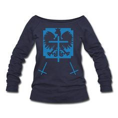 Polska Triple Crucifix Sweater Women (*Blau Glitzer*) - Frauen Pullover mit U-Boot-Ausschnitt von Bella