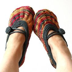 INSTANT DOWNLOAD - Knitting Pattern (PDF file) Shine Hom Slippers (Adult size)