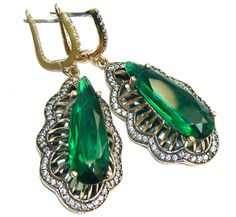 $63.85 Big!+Victorian+Style+Created+Emerald+&+White+Topaz+Sterling+Silver+earrings at www.SilverRushStyle.com #earrings #handmade #jewelry #silver #emeraldquartz