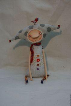 Купить Авторские куклы Первуша, Вторуша и Триша - серый, горошек, птички, авторская кукла, колпачки