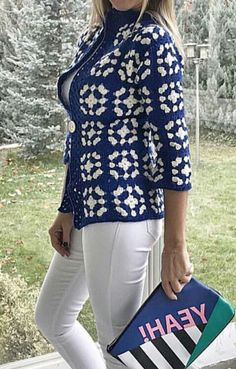 Knit Cardigan Pattern, Crochet Jacket, Knitted Poncho, Crochet Cardigan, Knit Crochet, Granny Square Crochet Pattern, Crochet Squares, Crochet Patterns, Cardigans Crochet