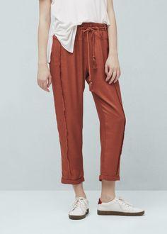 Прямые брюки из струящейся ткани | MANGO МАНГО