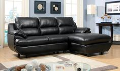 """QUAY for $364  SECTIONAL [CM6832]  Comfort comes to mind upon seeing this black bonded leatherette piece. Plush cushions, padded arms, T-cushion seating, and a built-in chaise all adds up to a great fi rst impression.  SECTIONAL [CM6832] 92 1/2""""L X 64""""W X 38""""H (SEAT HT: 20 1/2"""", SEAT DP: 22"""")  Contemporary Style  T-cushion Seating  Plush Cushions  Black  Bonded Leather Match"""