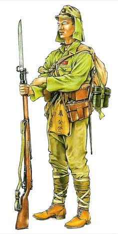 Japanese infantryman,WWII - pin by stinky old poop stain Military Art, Military History, 40k Armies, Japanese Uniform, Military Drawings, Ww2 Uniforms, Imperial Japanese Navy, Ww2 History, World War Two
