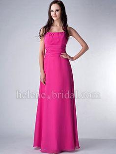 A-Line Square Long / Floor-Length Chiffon Elastic Silk-like Satin Bridesmaid Dress - BD1464 - US$ 119.99