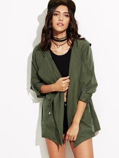 Shop Roll-Up Sleeve Drawstring Hooded Coat online. SheIn offers Roll-Up Sleeve Drawstring Hooded Coat & more to fit your fashionable needs. Check Coat, Green Coat, Roll Up Sleeves, Types Of Sleeves, Army Green, Mantel, Outerwear Jackets, Satin, Shorts