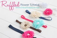 Ruffled flowers are soooo easy to make! Lace and glue & you are on your way to make headbads, hair clips and embellishments! Great tutorial. :)