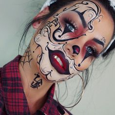 """Thank you for all the love on my last little video.. ha currently making a YouTube Tutorial for this #gangsterclown.. Be on look out  Products used  Brushes @morphe gunmetal line Eyes @anastasiabeverlyhills #modernrenaissance palette  @sigmabeauty gel liner """"wicked"""" for eyebrows  Face @nyxcosmetics liquid matte black liner Lips @wetnwildbeauty megalast lipstick """"redvelvet"""" // @nyxcosmetics """"Copenhagen"""" Lashes @houseoflashes """"iconic""""  Foundation @makeupforeverofficial ultra HD stick ..."""