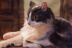 White Grey Gray Tabby Cat Art Print of my by rachelsstudio on Etsy - Big Boy