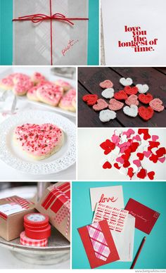 Photo credits:  row 1: love notes by Christine Wisnieski via Oh So Beautiful Paper |love you the longest of time print viaBespoke Press  row 2: heart cookies via two peas and their pod| crochet heart appliques by mooseart via etsy|valentine mini heart confetti by whimiscaloccasionsxo via etsy  row 3: washi gift wrapped boxes via The Sweetest Occasion|love notes by Christine Wisnieski viaOh So Beautiful Paper
