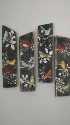 4 Bird Wall Decor Country Custom Order Rustic Shabby Chic Sign Barn Board Wood by ThreeTwigsDesigns on Etsy