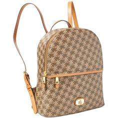 Lauren Ralph Lauren Dobson Tami Backpack ($141) ❤ liked on Polyvore featuring bags, backpacks, brown, flower print backpack, brown bag, backpack bags, floral print backpack and lauren ralph lauren bags