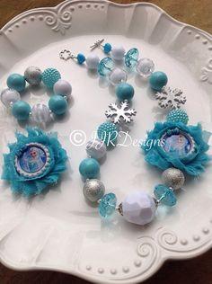 Frozen Inspired Girl Necklace- Elsa Bubble Gum Necklace-Princess Elsa Shabby Necklace- Queen Elsa Frozen Inspired on Etsy, $21.50