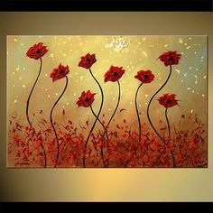 """Original Abstract Floral Painting Modern Acrylic Art Textured Red Blooming Poppies Painting by Osnat - MADE-TO-ORDER - 36""""x24"""""""
