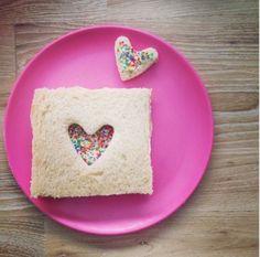Hearts fairy bread