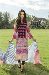 Show details for Red Rose and White Lawn Kameez with Trousers