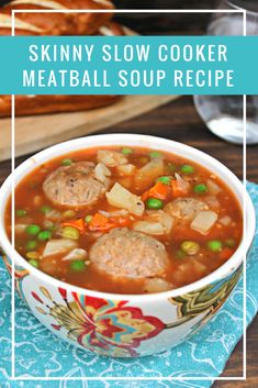A hearty and chill crushing Skinny Slow Cooker Meatball Soup Recipe! Healthy Crockpot Recipes, Soup Recipes, Dinner Recipes, Cooking Recipes, Dinner Ideas, Freezer Recipes, Freezer Cooking, Crockpot Meals, Freezer Meals