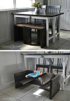 You're going to love this advanced DIY project tutorial! This piece of home decor is the perfect bench for your kitchen table, but it also converts to a toddler table.