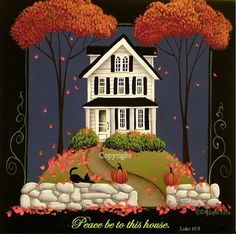 Folk Art Print Peace Be to This House by Catherine Holman - Dekoration Ideen Art And Illustration, Cat Illustrations, Tole Painting, Painting & Drawing, Painting Tips, Pintura Country, Primitive Folk Art, Primitive Painting, Naive Art