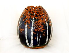 Treasured Trees Gourd Bowl by MesquiteGourds on Etsy Decorative Gourds, Hand Painted Gourds, Craft Stick Crafts, Gourd Crafts, Diy Crafts, Birdhouse Designs, Native American Artwork, Gourd Lamp, Wood Burning Patterns
