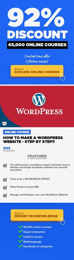 How to Make a Wordpress Website - Step by Step!! Web Development, Development #onlinecourses #onlinelearningtips #takingonlineclasses  A complete step by step wordpress tutorial! Learn how to use WordPress to develop and build a website from scratch. WHY THIS COURSE? This course is a step by step tutorial that shows you how to make a website from scratch. You do NOT need to know any type of codi...