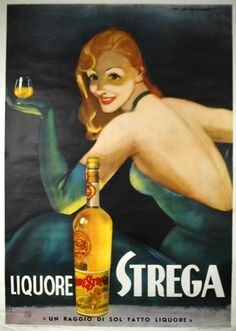 Vintage advertising poster for Liquore Strega. Art by Marcello Dudovich c1950 (rare).