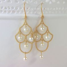 Pearl Wedding Earrings  Gold Chandelier Bridal by Pearl Amour Jewels