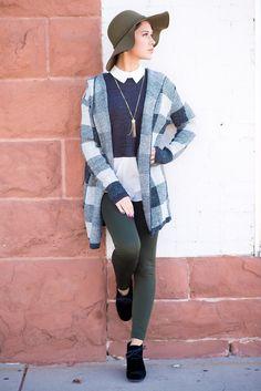 Checkered Grey Long Hoodie
