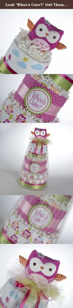"Look ""Whoo's Cute?"" Owl Theme Three Tier Diaper Cake. This 3 tier diaper cake includes: 42 Pampers Swaddlers diapers, size 1 (8-14lb) premium diapers. 4 flannel receiving blankets, 100% Cotton, 30 in x 30 in 1 Plush Owl Security Blanket 14 in x 14 in This diaper cake sits on a 10"" cakeboard. It is wrapped in tulle and decorated with ribbons. None of the baby items are glued. All the items are brand new and usable. The cake will ship out 3-5 business days. Please allow 7-10 days for shipping."