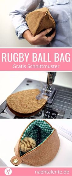 Freebook Kulturbeutel Rugby Ball Bag - Die Kulturtasche nicht nur für Herren! Genäht aus dem trendigen Korkstoff ist dies ein unwiderstehliches Einzelstück. Einfach zu nähen mit genialem Foto-Tutorial. #nähen #freebook #schnittmuster #gratis #nähenmachtglücklich #freesewingpattern #handmade #diy