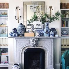 Our Blue and White Vases celebrate the traditional look of blue and white porcelain, which dates bac Blue And White Living Room, Blue And White Vase, White Vases, My Living Room, Blue Living Room Decor, Blue Rooms, White Rooms, Blue Bedroom, Bedroom Sets
