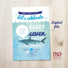 Shark Birthday Invitation shark theme party 5x7 or 4x6
