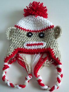 Newborn Sock Monkey Hat Baby Sock Monkey Hat Crochet by LovelyJC, $14.00