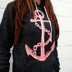 I want it!!!   Pink Anchor on Black Pullover Hoodie by pinastyles on Etsy, $74.00