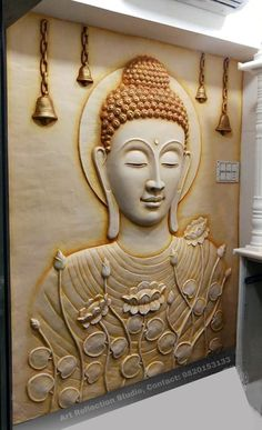 Planned Couple Room: Projects, Photos and Ideas - Home Fashion Trend Buddha Artwork, Buddha Wall Art, Carved Wood Wall Art, Clay Wall Art, Wall Painting Decor, Mural Wall Art, Buddha Sculpture, Wall Sculptures, Budha Painting