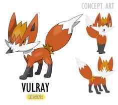 #928 - VULRAY Electric O Pokémon Vulpes elétrico. Essa pequena raposa é um dos Pokémon mais rápidos nativos de Lareen. Conhecido como relâmpago laranja, um Vulray pode correr em velocidades acima de 300 km por hora, deixando um rastro de ondas elétricas por onde passa e essa eletricidade pode durar vários minutos, dando pequenos choques em quem se aproximar de seu rastro. Evolui para Sprionna no lv. 41. Pokemon Fake, First Pokemon, O Pokemon, Pokemon Eeveelutions, Pokemon Pokedex, Pokemon Pictures, Kawaii Drawings, Rooster, Concept Art
