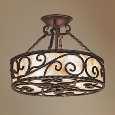 "Natural Mica Collection 15"" Wide Iron Ceiling Light Fixture -"