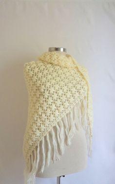 FREE ship ON SALE Ivory Pansy Bride Shawl weding by modelknitting, $73.90