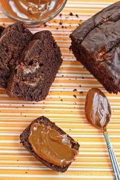 Chocolate dulce de leche bread - soft, rich chocolate bread with dulce de leche swirls | Roxanashomebaking.com