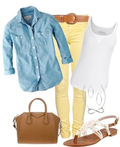 LOVING this fresh spring look I found on Polyvore! Need to get those yellow skinnies!