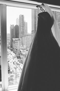 Wedding dress with the Mag Mile in the background.