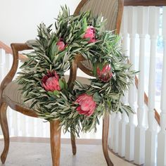 Queen Protea and Olive Wreath