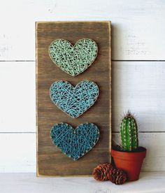 Teal & Mint Mini Hearts String Art Sign, Heart Sign, Wooden Sign, Wall Art
