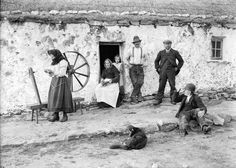 Irish Villagers outside a typical Irish house ~1900's