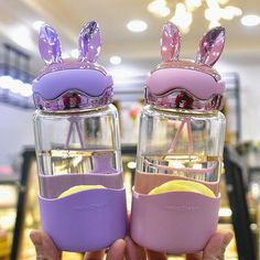 Cute Rabbit Ear Water Bottle ml.●Material: glass ●About Shipping: time: business days.