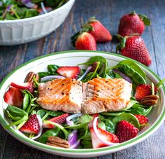 Strawberry Salmon Salad & Ginger Dressing A fresh and delicious strawberry salmon salad with the sweet kick of ginger dressing. Easy to make for a healthy lunch or dinner.