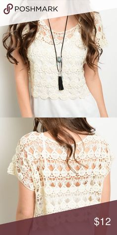 """🆕Scoop neckline boxy fit crochet lace top Short sleeve top features a scoop neckline, crochet material, boxy fit and scalloped hem. (Undershirt not included)    Fabric Content: 100% COTTON Size Scale: S/M - M/L Description: L: 14"""" B: """" W: 21"""". 🔺Firm price🔺 Tops"""