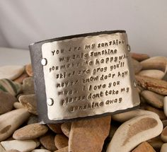 Leather cuff braclet, you are my sunshine, my only sunshine, 2 inch cuff.  via Etsy.