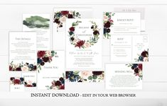 A beautiful Wreath Marsala Wedding Invitation Set.  Perfect for a spring or summer wedding. Instantly download and personalize this Wreath Marsala Floral Wedding Invitation Set right in your web browser.  #marsalaweddinginvitation  #marsalawreath  #rusticweddinginvitation  #gardenweddinginvitation  #springweddinginvitation  #wedding invitation set